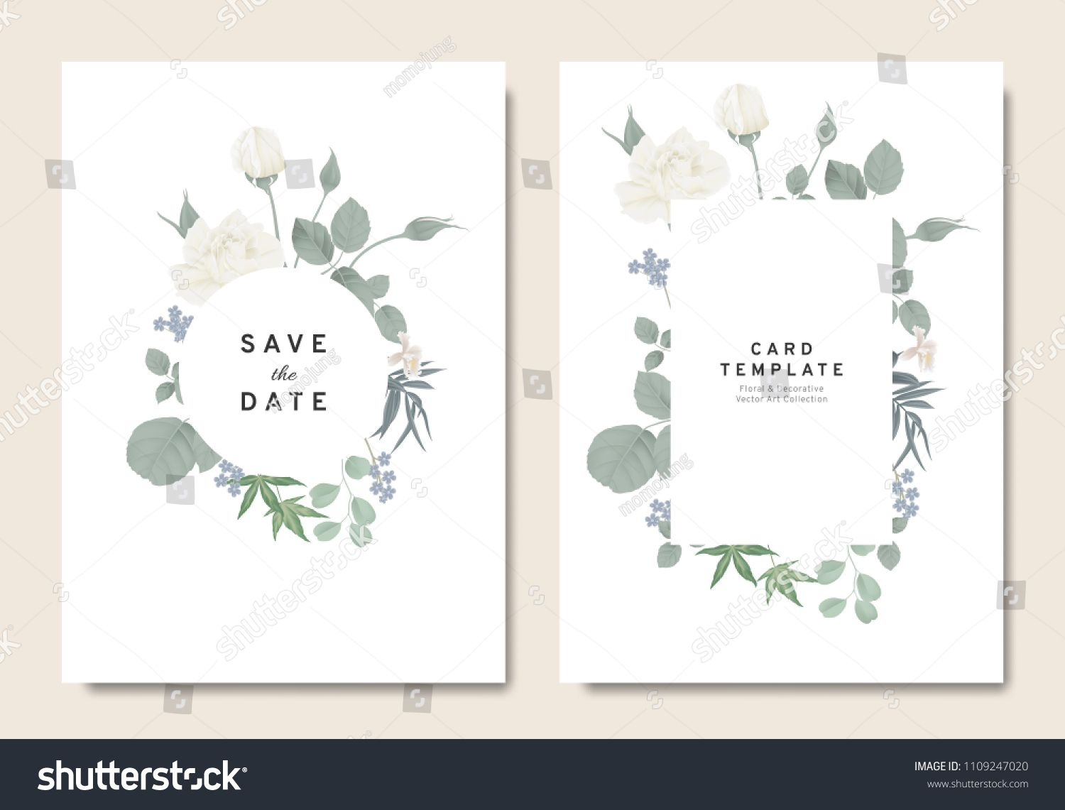 Floral Wedding Invitation Card Template Design Bouquets Of White Ro Floral Wedding Invitation Card Floral Wedding Invitations Wedding Invitation Card Template