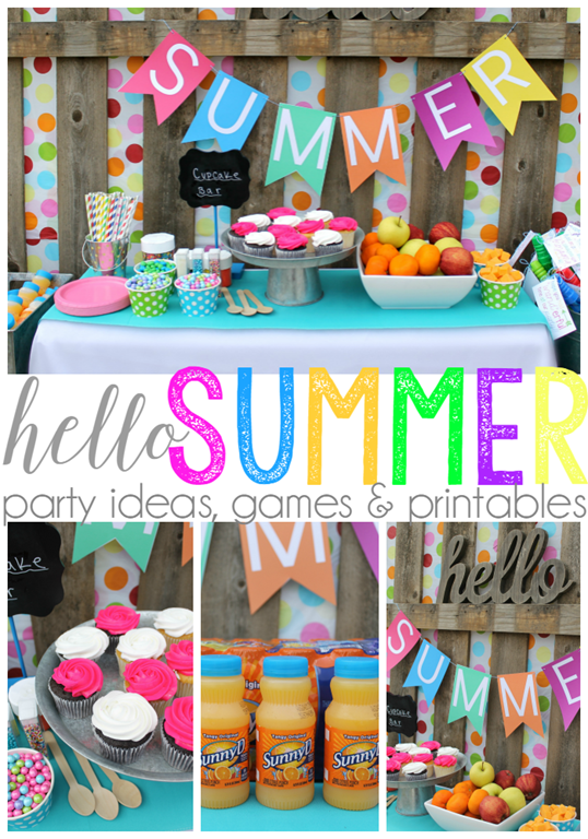 Hello Summer Party Ideas Games Printables Wherefunbegins Summer Party Decorations Kids Summer Party Summer Party Themes