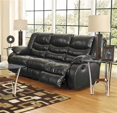 Linebacker Durablend Black Leather Pu Reclining Sofa Black