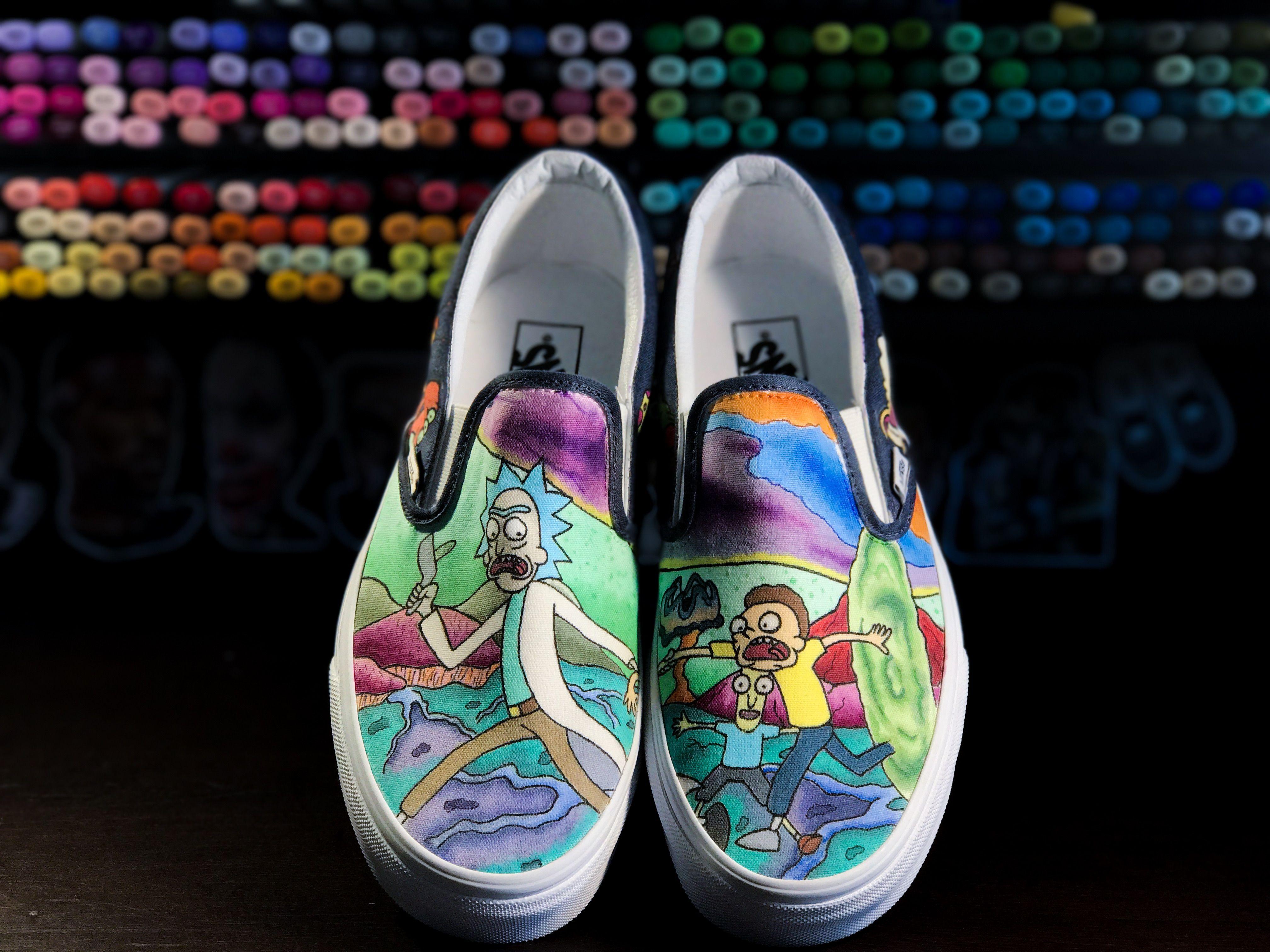 Custom Rick and Morty Vans | Vans classic slip on sneaker, Slip on ...