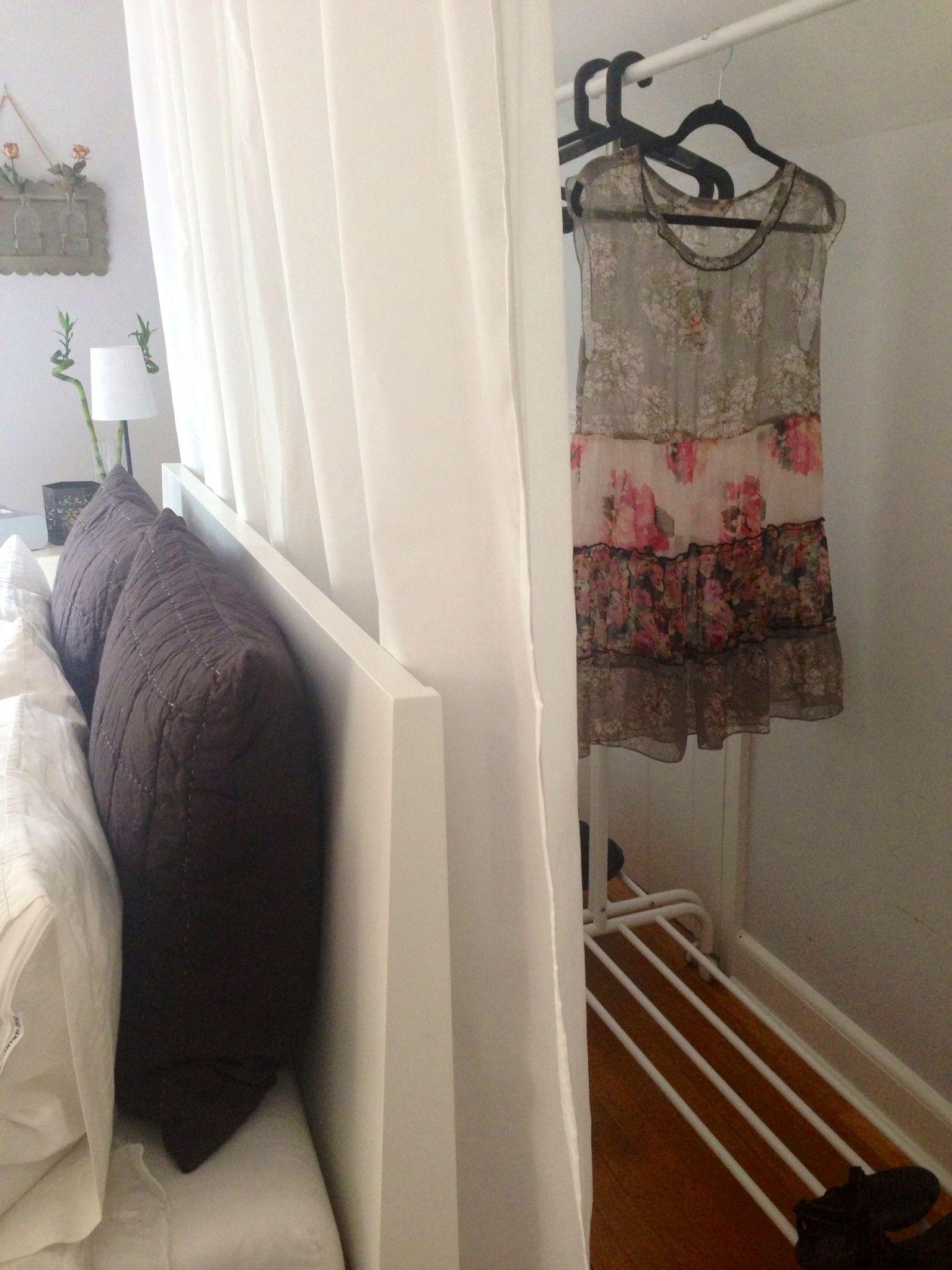 Open Closet Behind Bed
