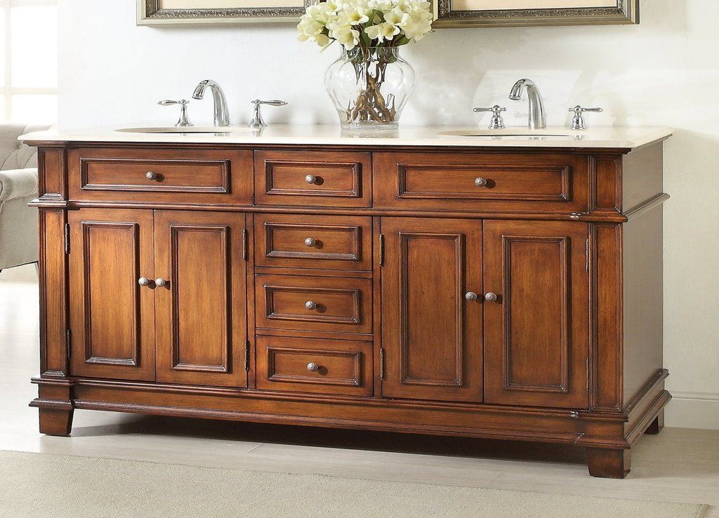 """Paris 60-Inch Espresso Double-Sink Bathroom Vanity With Mirrors 70"""" timeless classic sanford double sink bathroom vanity model"""