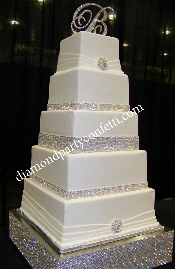 rhinestone wedding cakes 5 tier square wedding cake with rhinestone banding 19208