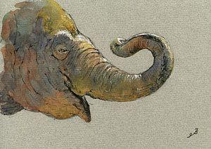 Watercolor Elephant Painting - Elephant Head by Juan  Bosco