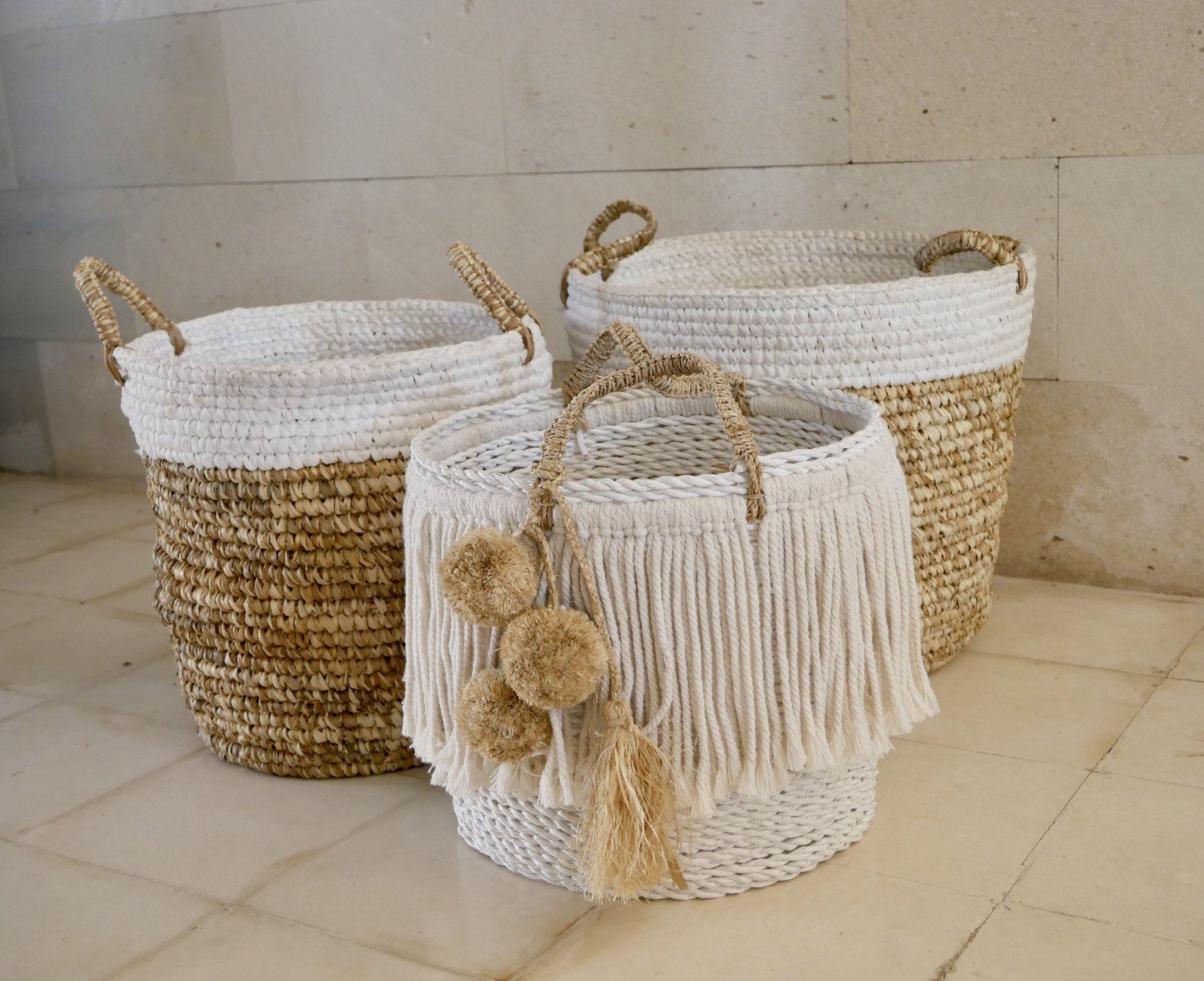 White Storage Basket with Pom Poms