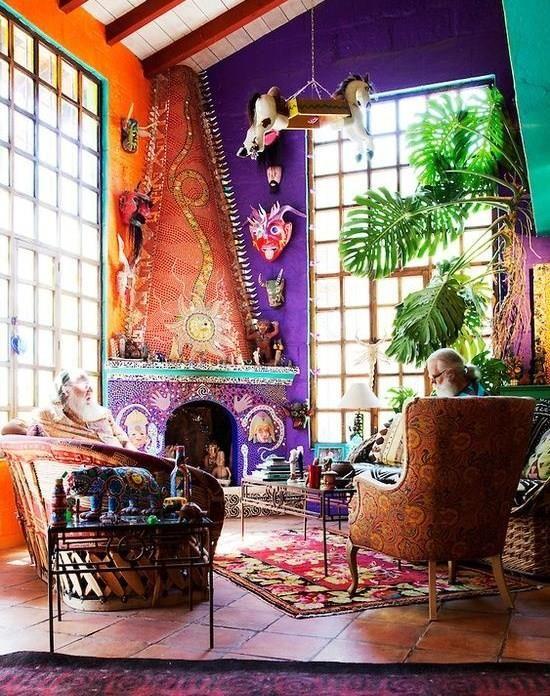 Colourful Living Room In San Miguel De Allende Guanajuato Mexico