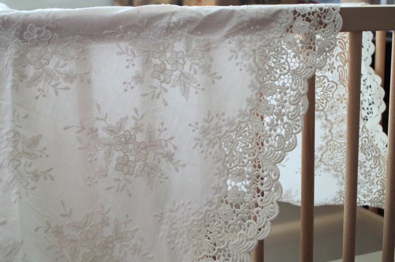 cotton eyelet lace fabric with retro floral pattern by the yard, cotton eyelet lace fabric, off white cotton embroidered lace fabric