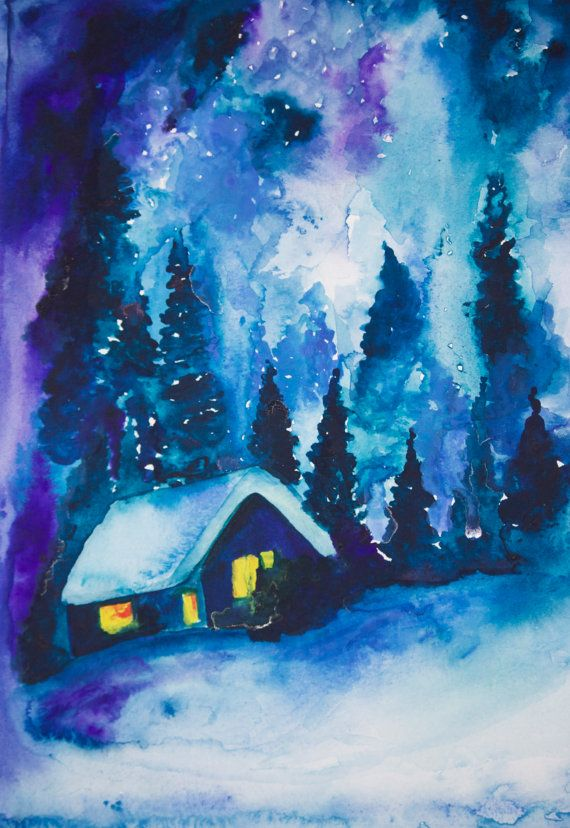 Winters Night   print of an original watercolor by DancingColors, $30.00