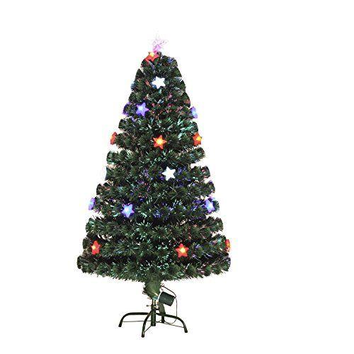 6\u0027 Artificial Holiday Fiber Optic Star Light Christmas Tree - Green