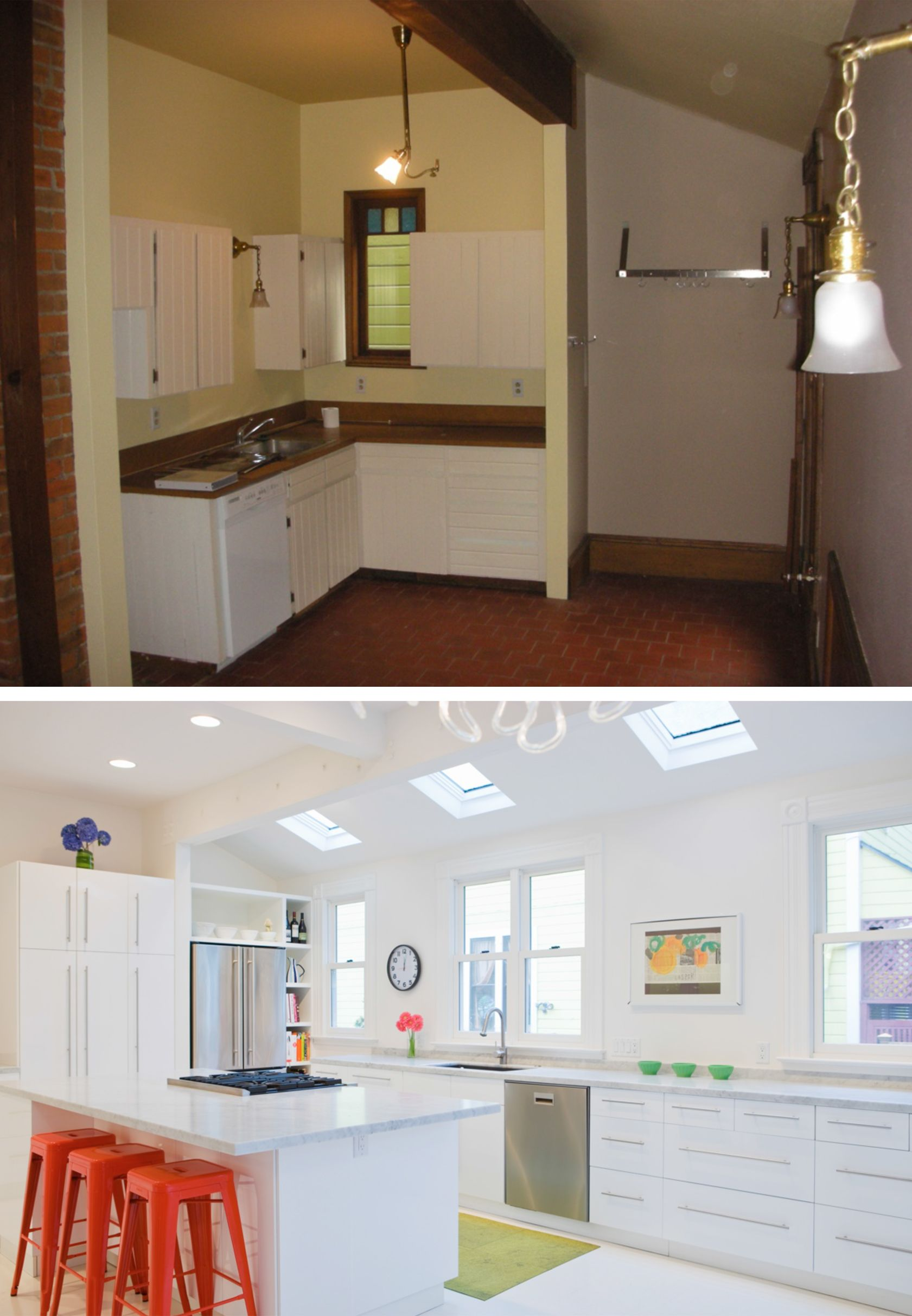 Before After Minimalist White Kitchen With Pops Of Color By