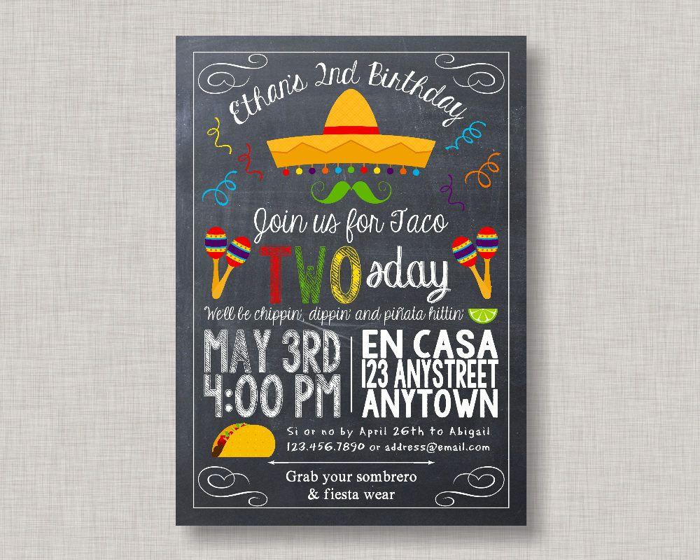 Taco Twosday Fiesta Birthday Invitation   Fiesta Theme Party ...