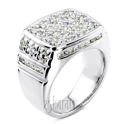2 68 Ct Channel And Prong Set Fancy Diamond Men S Ring Mens