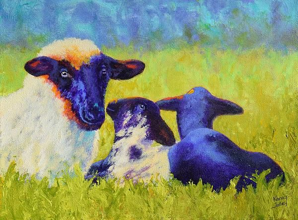 #sheep #animals #love Mom And The Kids painting by Nancy Jolley