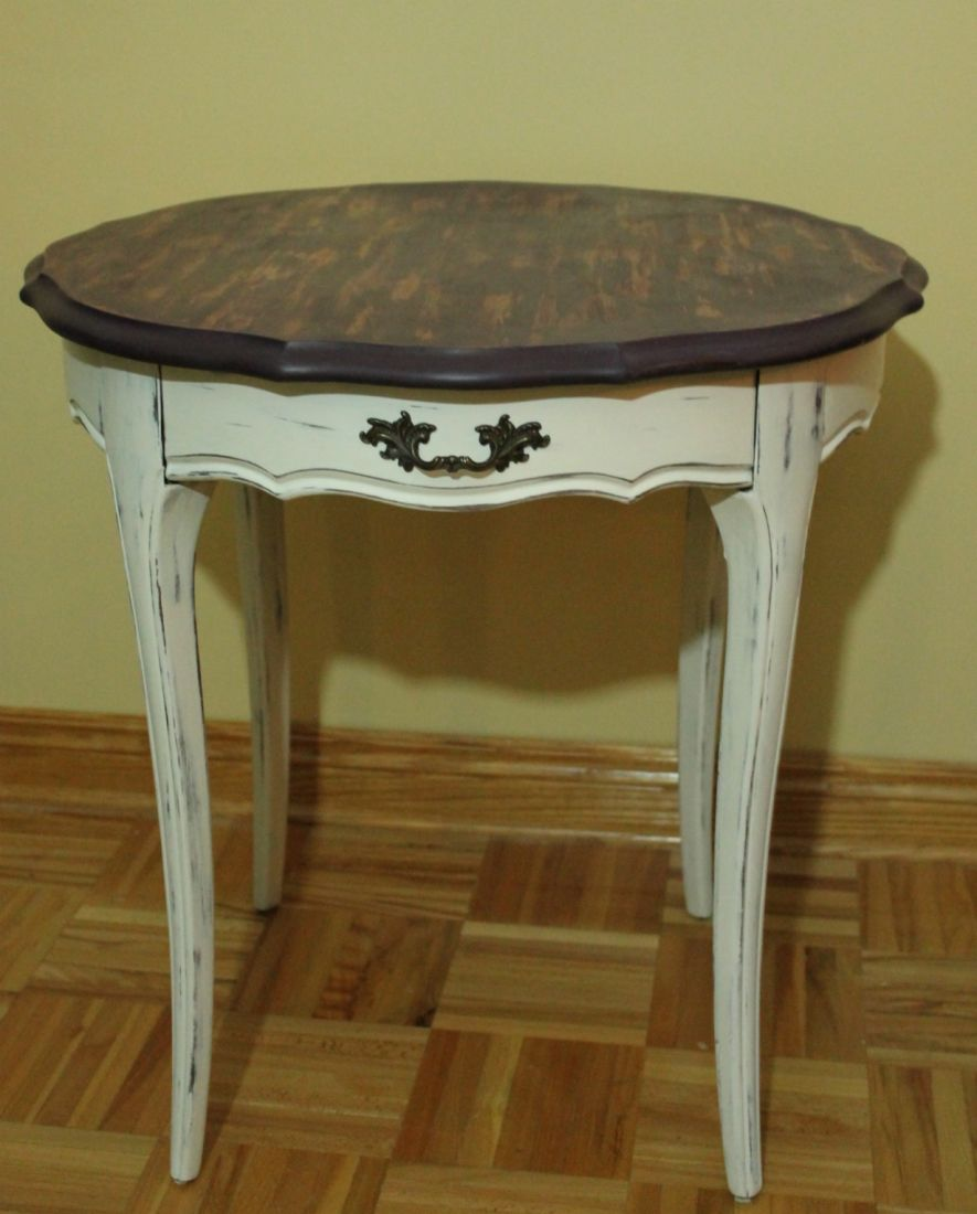 Small refinished Shabby Chic side table with French Provincial style
