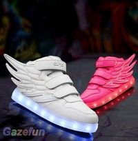 Wish kids girls boys colorful led light up velcro sneakers dance shoes children sports also rh pinterest