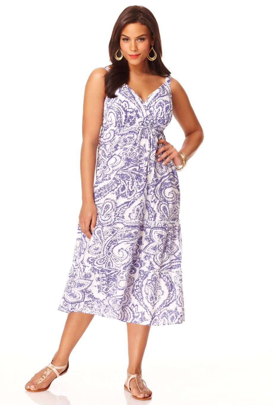 Plus Size Tiered Print Sleeveless Dress