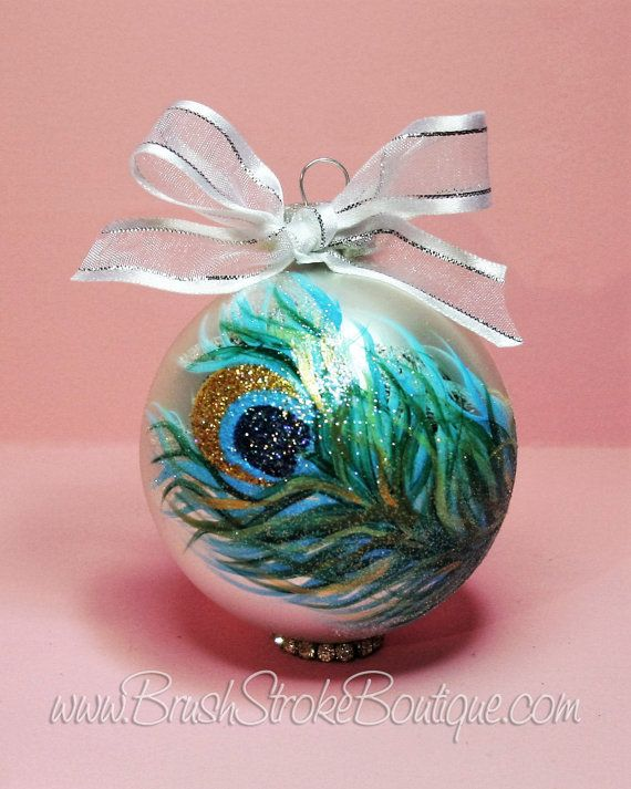 Large Peacock Feather Ornament - Hand Painted Glass Ball Ornament - Baby's Birth or Birthday or Christmas - Can Be Personalized