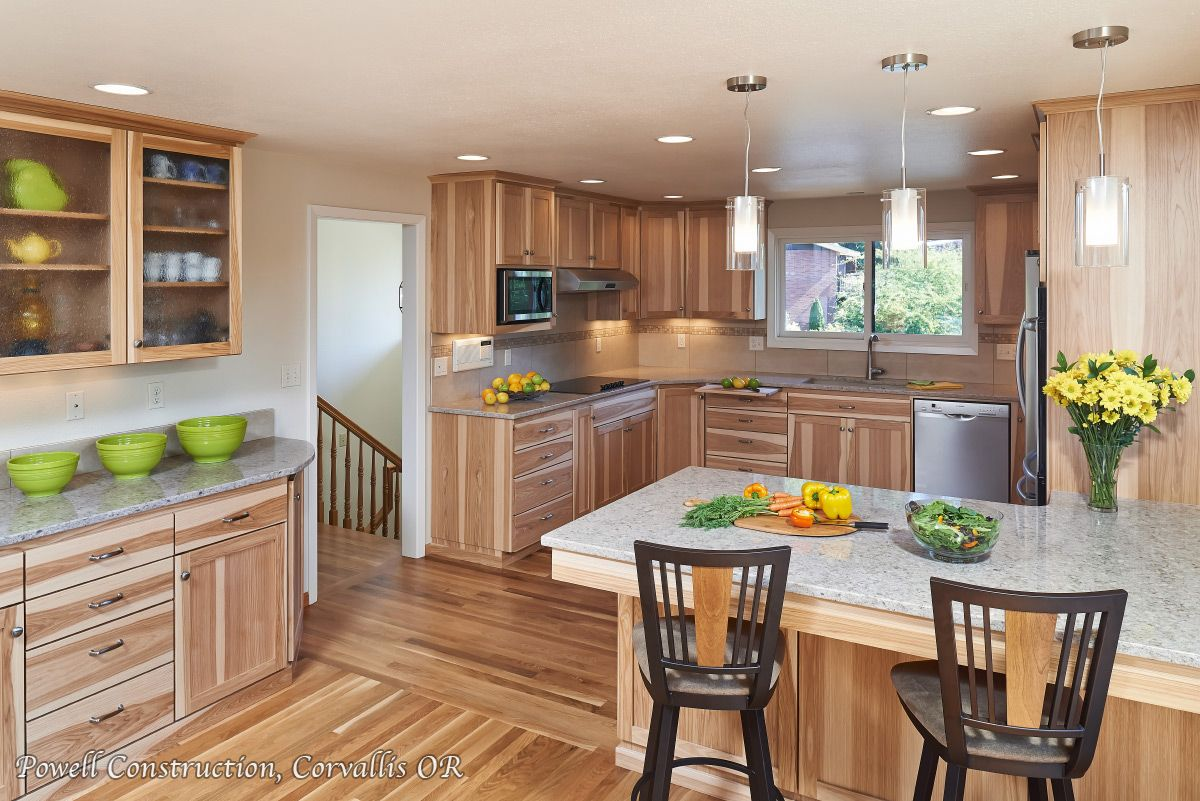 This Full Kitchen Remodel Features Calico Hickory Quarter Sawn Cabinetry The Ful Hickory Kitchen Cabinets Kitchen Cabinets And Flooring Birch Kitchen Cabinets