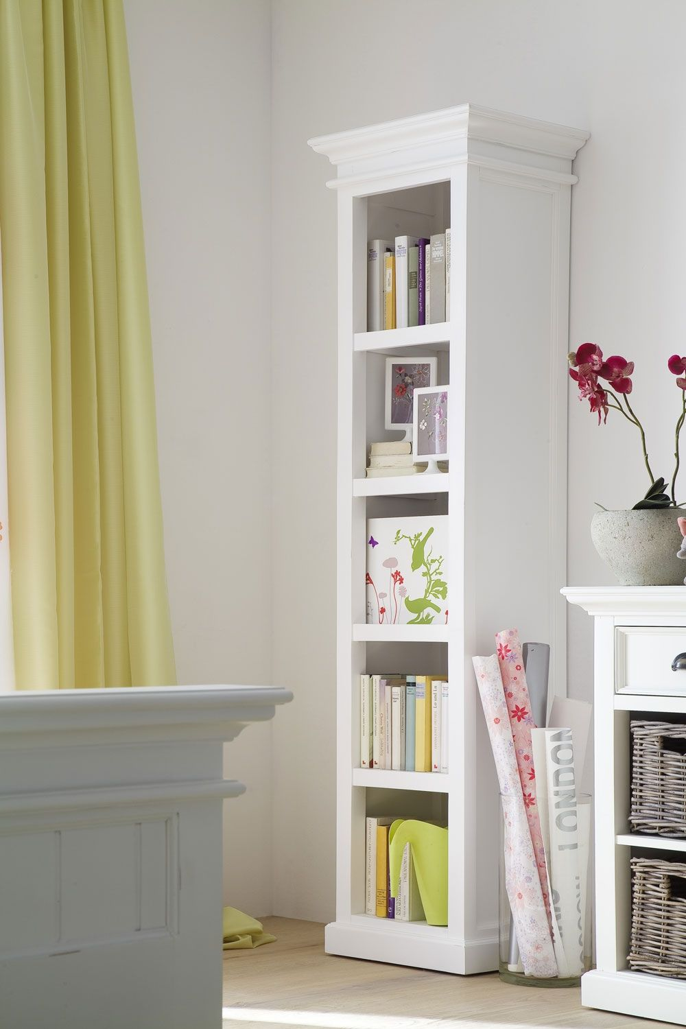 Elegant Tall White Media Cabinet