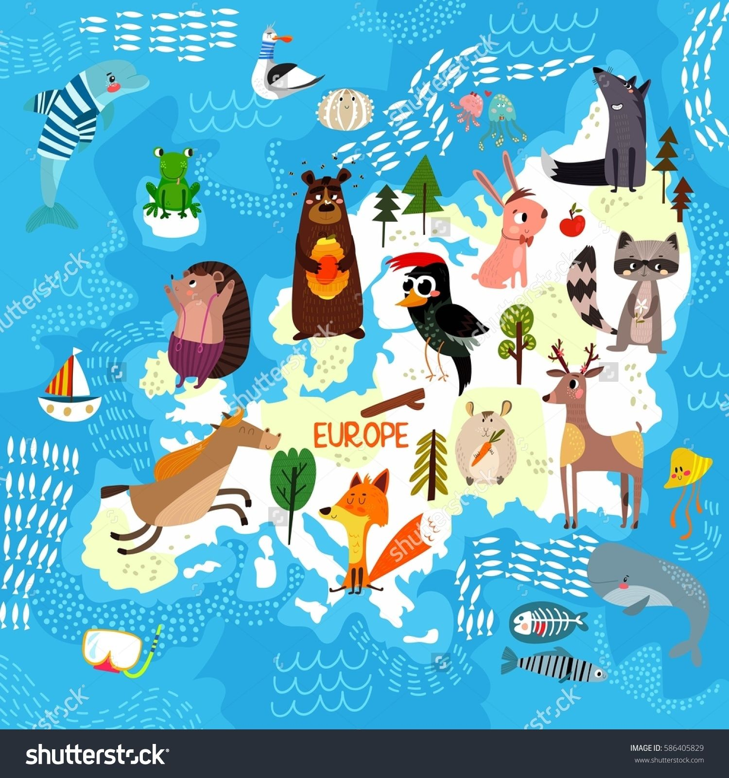 Cartoon world map with traditional animals Illustrated map of