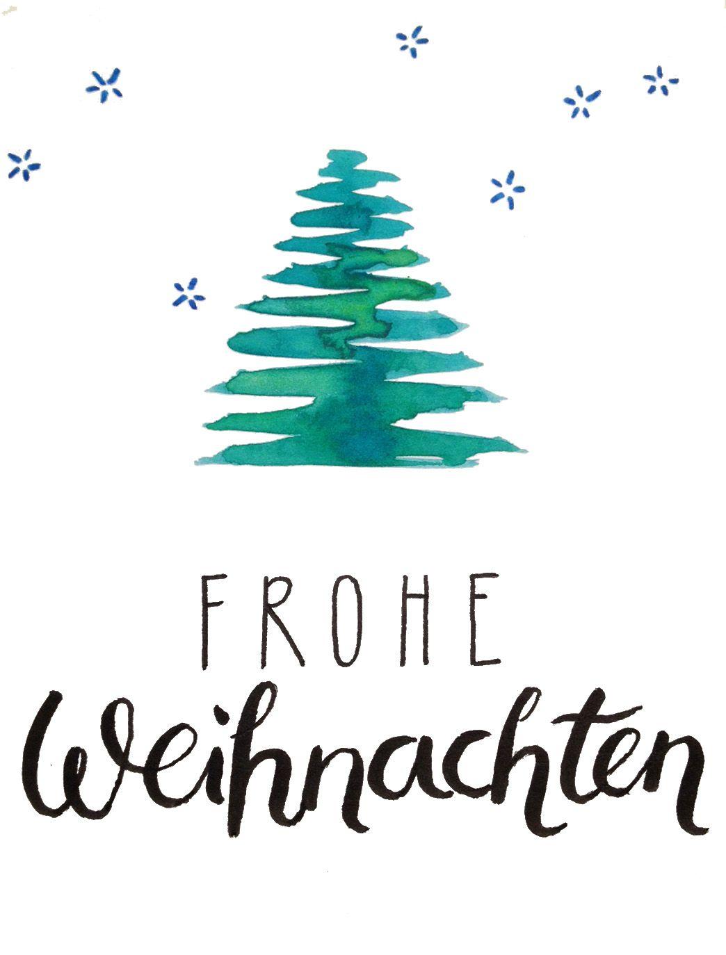 Weihnachtskarte Aquarell Und Handlettering Kalligraphie