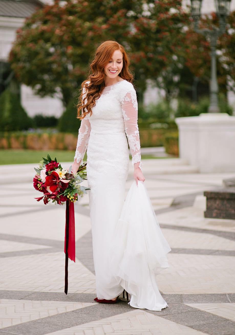 Sheer long sleeve wedding dress  modest wedding dress with long sleeves and a slim and sheer skirt