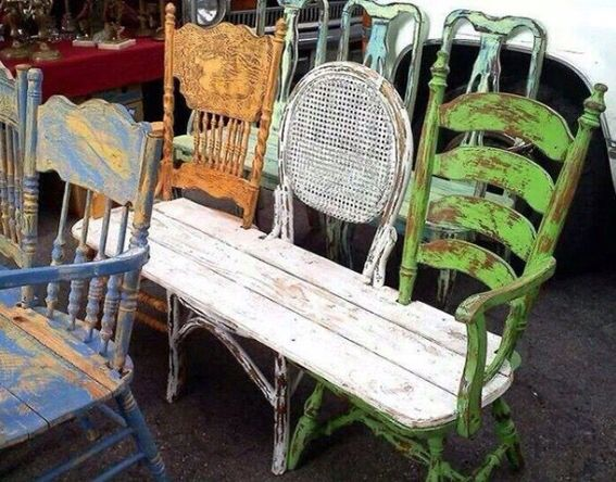 Three Old Chairs Made Into A Pretty Little Bench Chairs Repurposed Garden Bench Diy Diy Furniture