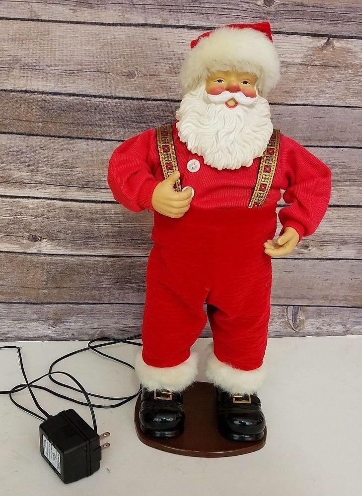 Vtg Holly Jolly Rock Santa Cowboy Animated Christmas Figure 1998