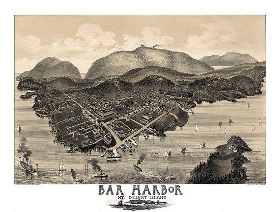 Map of Bar Harbor Mount Desert Island in Hancock County Maine
