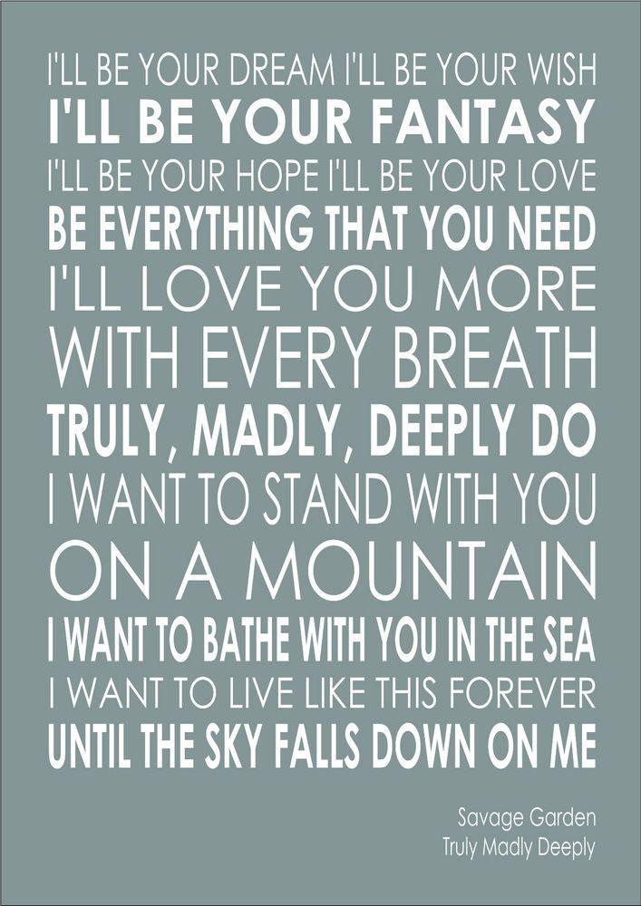 Savage Garden Truly Madly Deeply Lyrics Wedding Word Wall Art