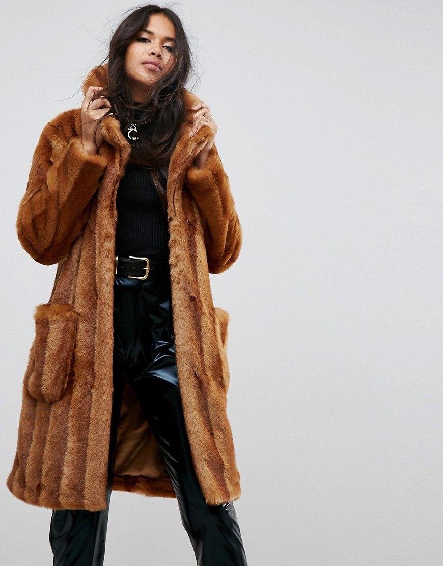 8963d1e921c ASOS Faux Fur Midi Coat - Brown