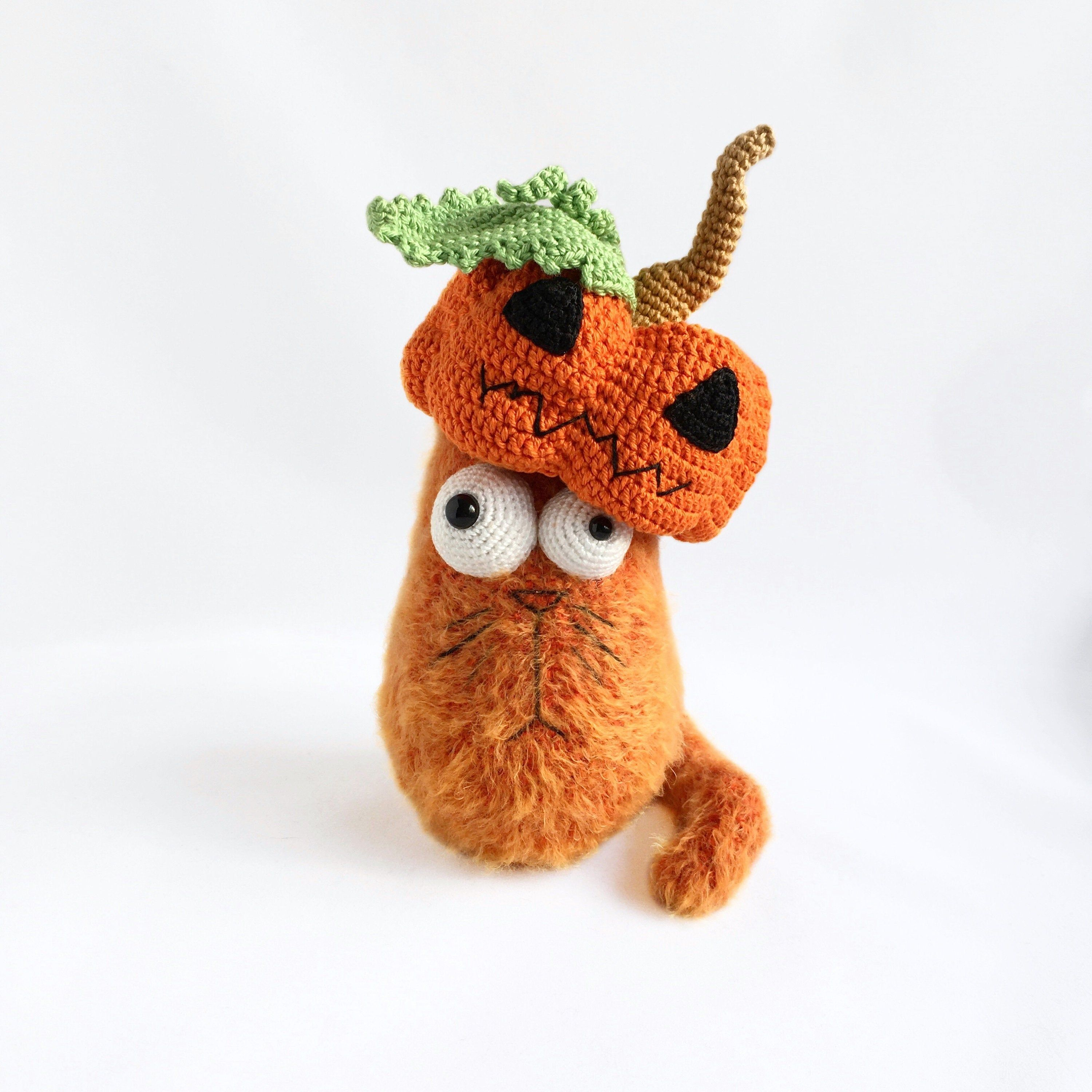 Cat in pumpkin knitted plush toy Fluffy cat toy Halloween