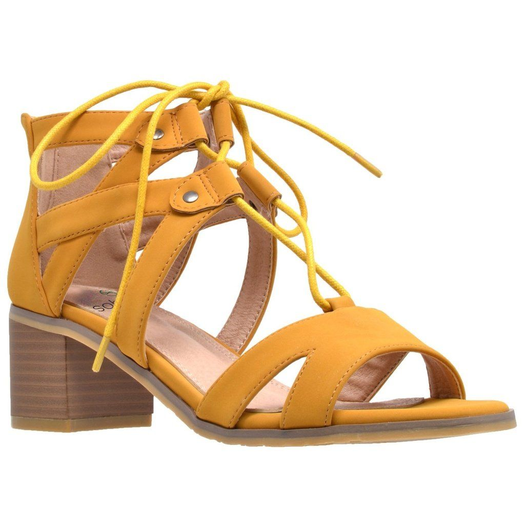 ef333483b9bc Womens Dress Sandals Lace Up Gladiator Block Heel Shoes Yellow ...