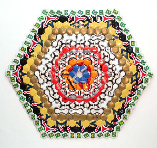 felipe barbosa. Cubic Idea, 2006-2007  Sewn soccer balls  59.5 x 52 inches