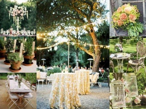 Vintage Hochzeit Im Freien Lichterketten Und Tischdekor Bodas