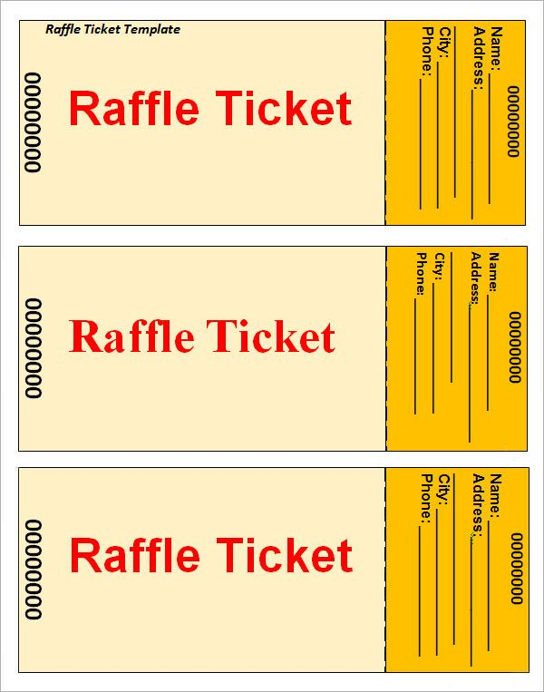 Raffle Ticket Template Más  Free Raffle Templates