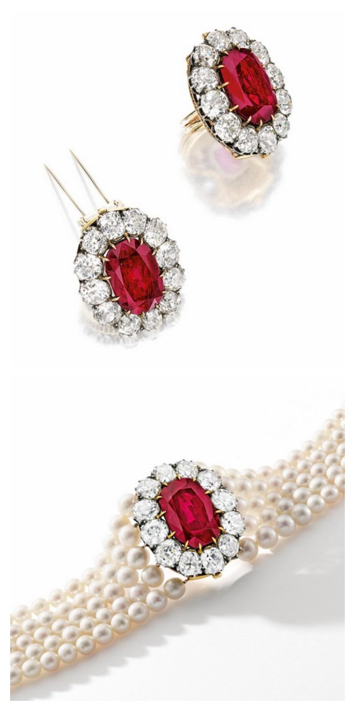 Impressive And Rare Ruby, Diamond And Natural Pearl Bracelet: Centring On  An Antique Cushion