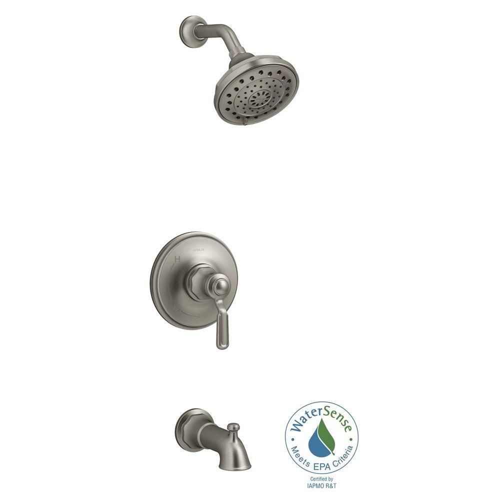 KOHLER Worth 1-Handle 3-Spray Tub and Shower Faucet in Vibrant ...