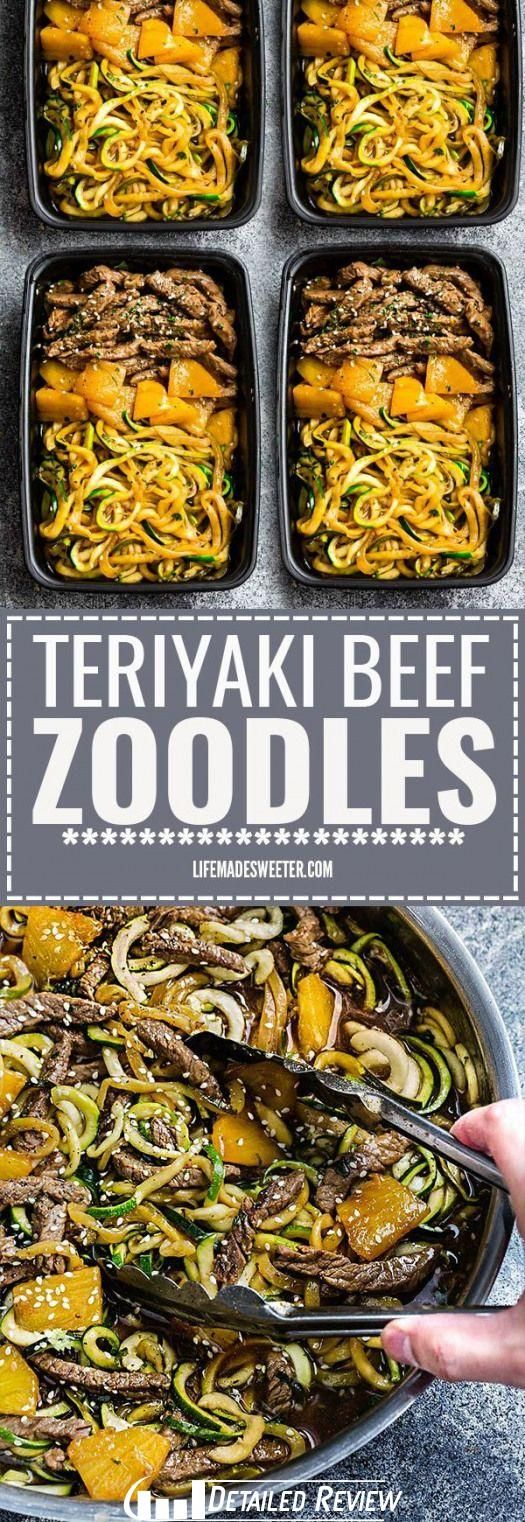 One Pan Teriyaki Beef StirFry Zucchini Noodles is the perfect easy gluten fre