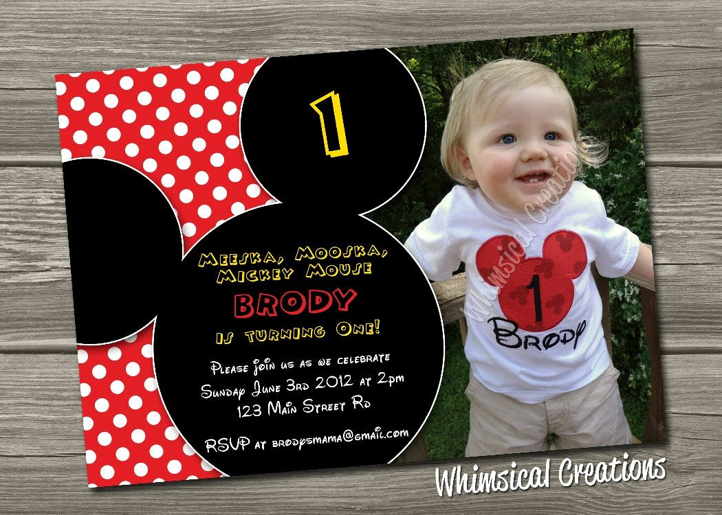 Mickey Mouse Birthday Invitation (Digital File) Mickey Mouse ...