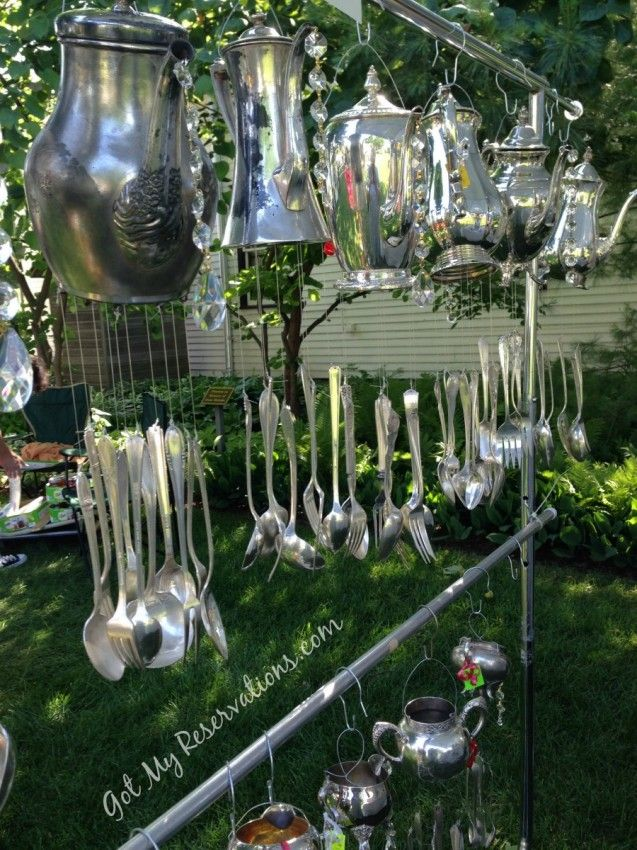 Gotmyreservations silver teapot and flatware wind chimes for Wind chimes out of silverware