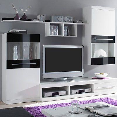 Ebay Angebot Wohnwand Abano Moderne Anbauwand Mit Tv Board In Weiss