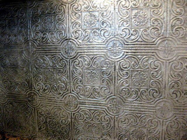 Faux Antique Tin Tile Backsplash Tutorial And Some History Tin Tile Backsplash Tin Tiles Paintable Wallpaper
