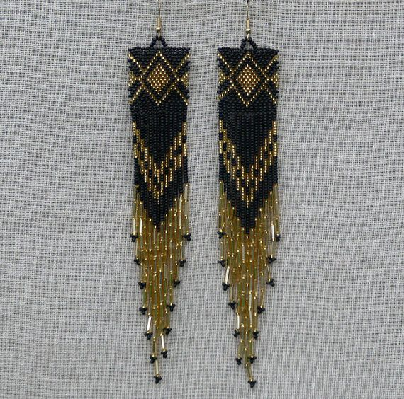 Extra Long Earrings. Gold and Black Earrings. Native