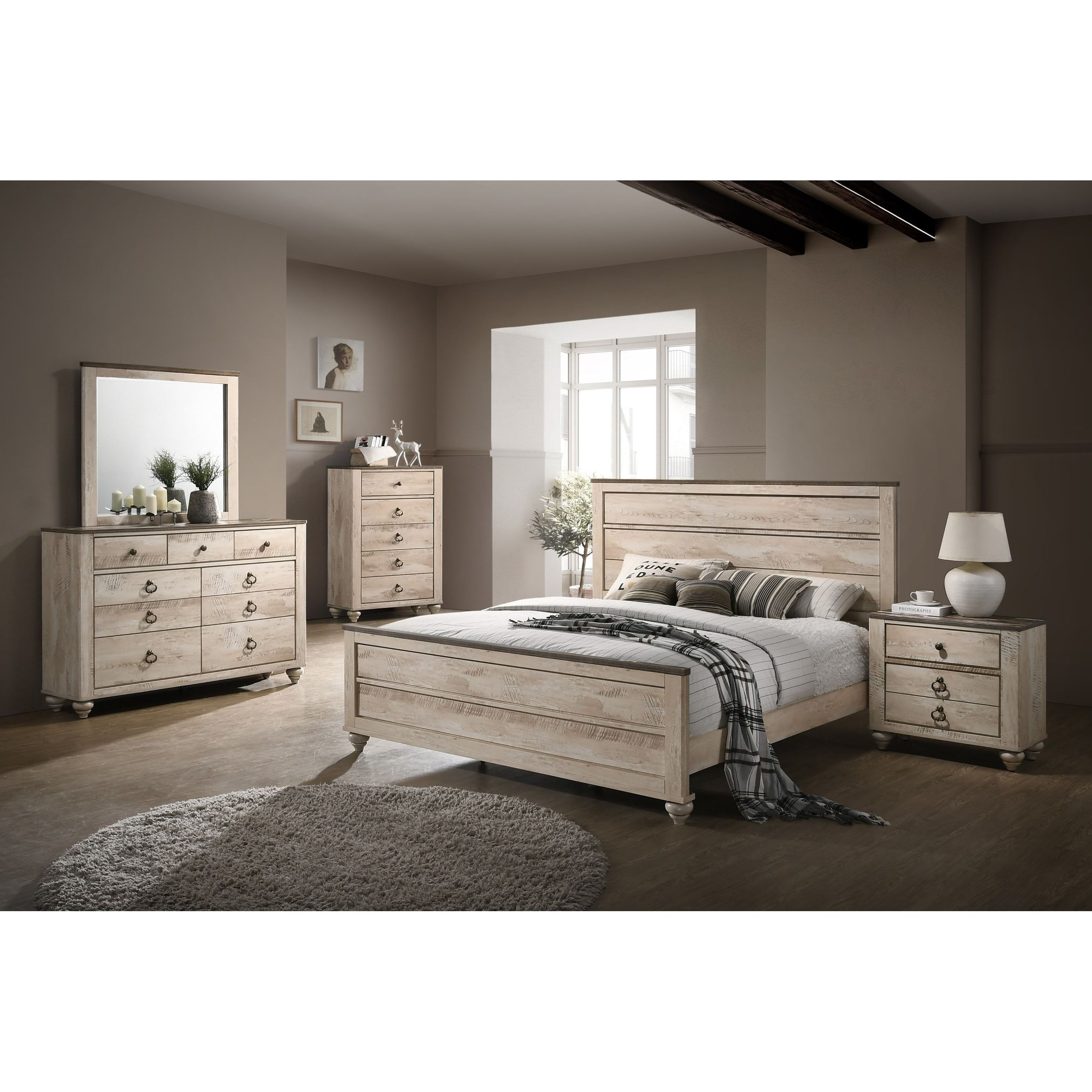 Imerland Contemporary White Wash Finish 5 Piece Bedroom Set Queen Bedroom Sets Bedroom Set Diy Furniture Bedroom