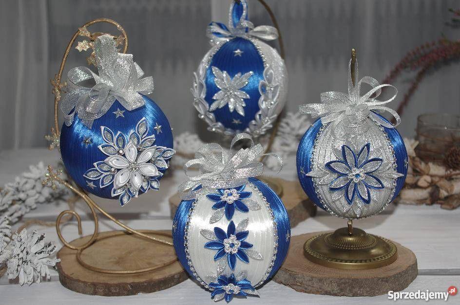 Bombki Ze Wstazki Kanzashi Handmade Rekodzielo Fancy Christmas Ornaments Christmas Ornaments Ribbon Crafts