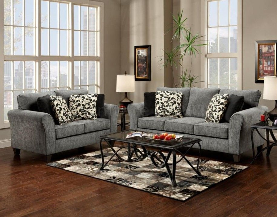 Elegant Style Living Room With Wooden Flooring And Two Grey Sofas Living  Room Design And Black