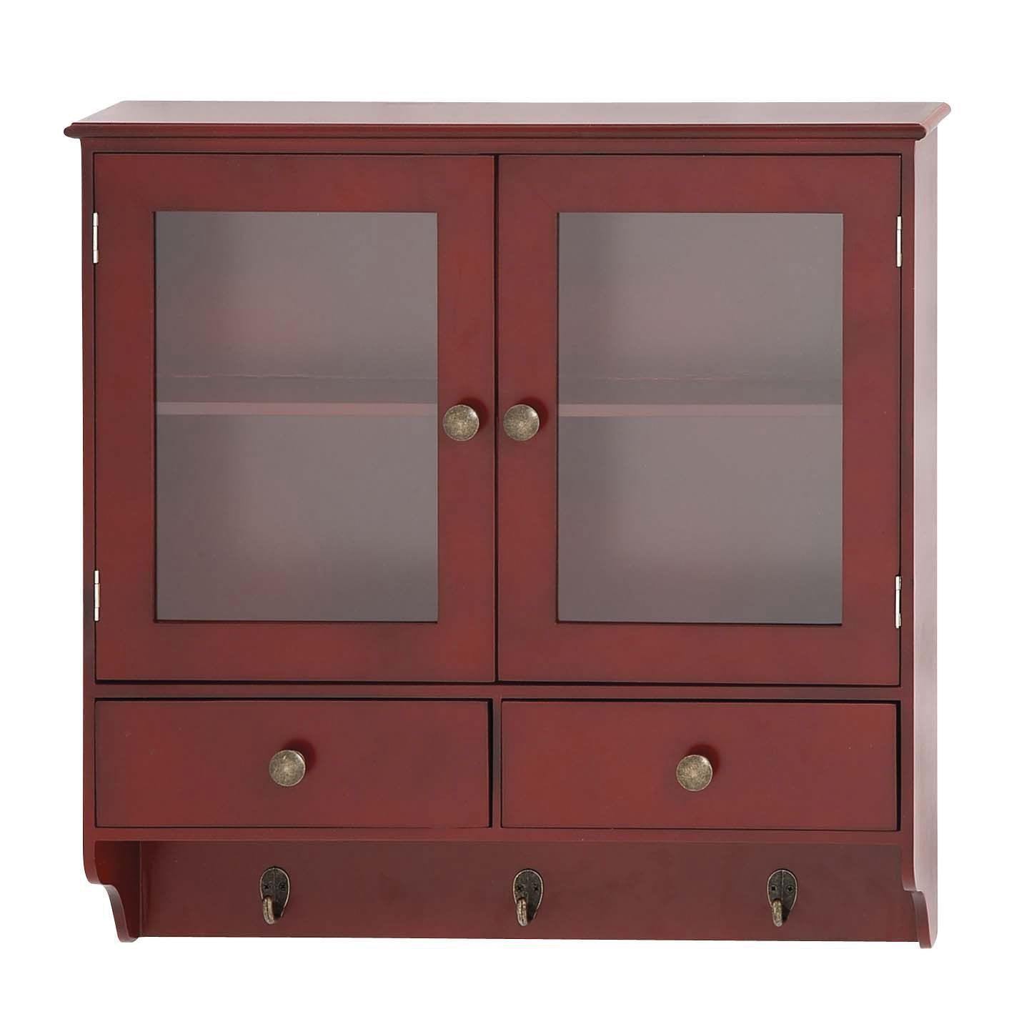 Contemporary Brown Wood Wall Cabinet Shelf Hook Drawers ...