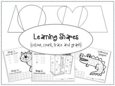 Learning Shapes Worksheets (colour, count, trace and graph