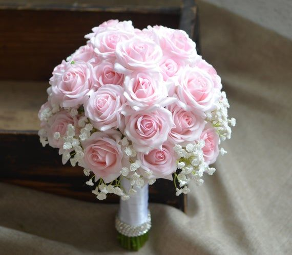 Pink Roses Bridal Bouquets, Rustic Silk Bridal Bouquet, Real Touch Roses, Pale Pink Roses, Baby's Breath